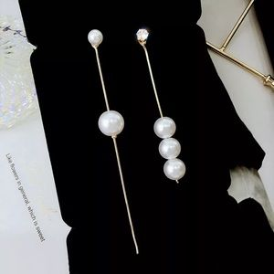 Long Asymmetrical Pearl Earrings